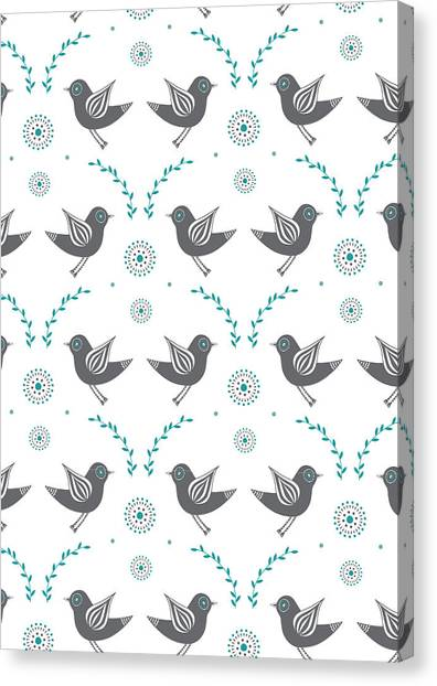 Lovebirds Canvas Print - Repeat Lovebird by Susan Claire