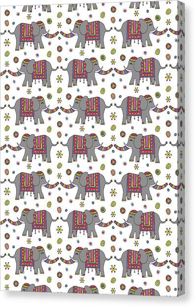 Elephants Canvas Print - Repeat Print - Indian Elephant by Susan Claire