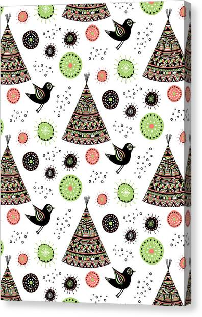 Cute Bird Canvas Print - Repeat Print - Wild Night by MGL Meiklejohn Graphics Licensing
