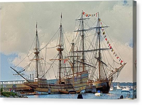 Replica Ships Mayflower And Hms Bounty Canvas Print