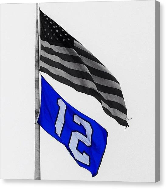 Seattle Seahawks Canvas Print - Repost Of My #seahawks Flag - #seattle by Phil Scroggs