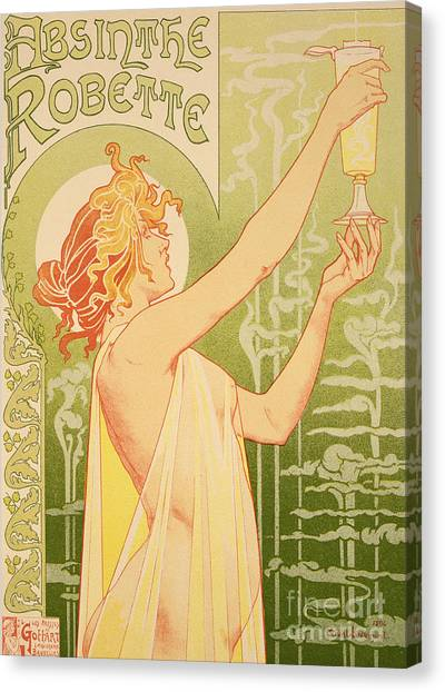 Girl Canvas Print - Reproduction Of A Poster Advertising 'robette Absinthe' by Livemont