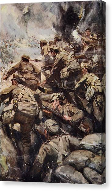 Grenades Canvas Print - Repulsing A Frontal Attack With Rifle by Cyrus Cuneo