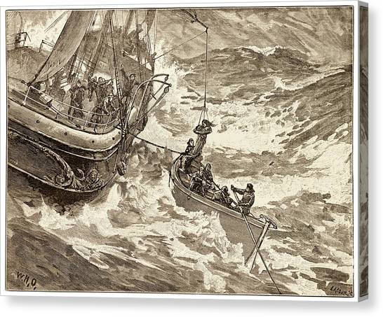 Drown Canvas Print - Rescue At Sea. by David Parker/science Photo Library
