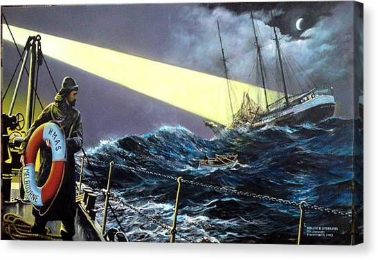Rescue Of The Helen B.  Sterling 1922 Canvas Print