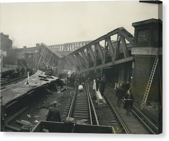 Rescue Work Goes On In The Lewisham Rail Crash Engineers Canvas Print by Retro Images Archive