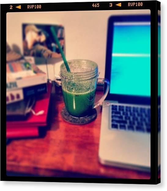 Smoothie Canvas Print - Reset? #green #drank #smoothie by Bianca Q