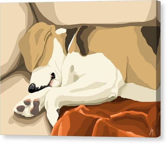 Beagles Canvas Print - Rest by Veronica Minozzi
