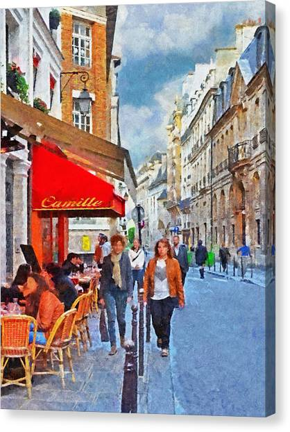 Restaurant Camille In The Marais District Of Paris Canvas Print