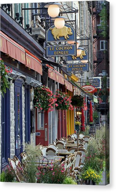 Restaurant Le Cochon Dingue In The Old Port Of Quebec City Canvas Print