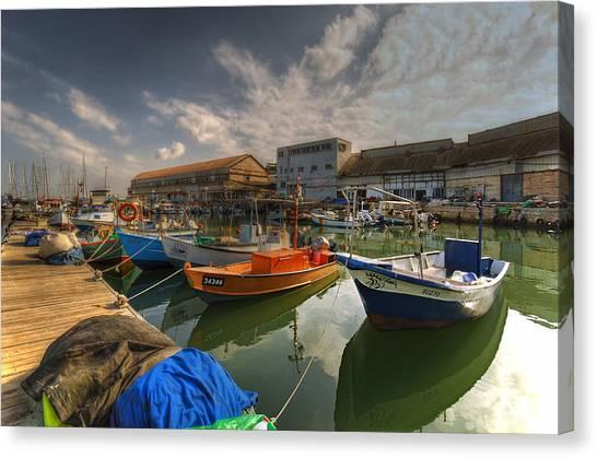 resting boats at the Jaffa port Canvas Print