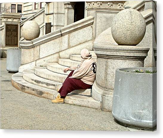 Resting On The Steps Of City Hall Canvas Print by Mike McCool