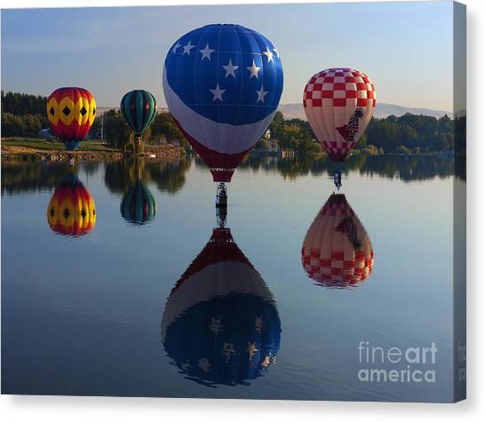 Hot Air Balloons Canvas Print - Resting On The Water by Mike  Dawson