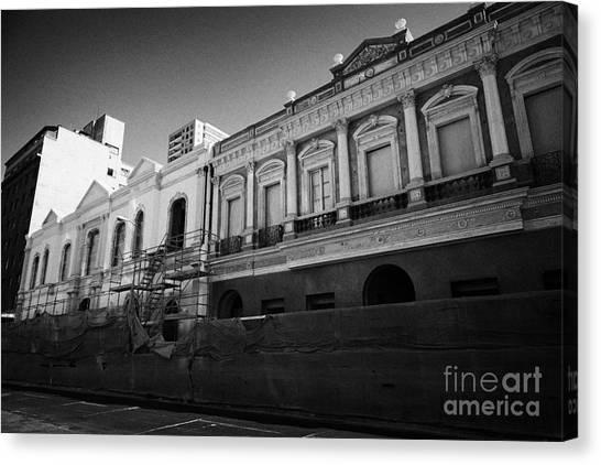 restoration of old colonial buildings damaged by earthquake compania de jesus Santiago Chile Canvas Print by Joe Fox
