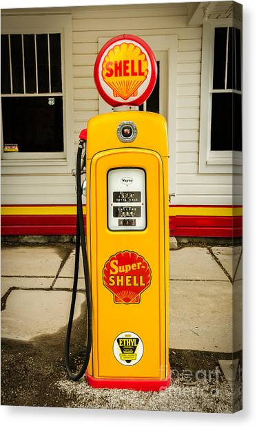 Restored Shell Pump On Route 66 Canvas Print