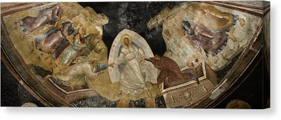 Byzantine Art Canvas Print - Resurrection Of Adam And Eve Panorama by Stephen Stookey