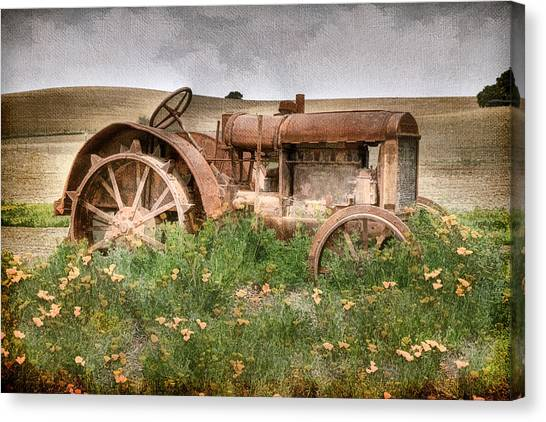 Tractors Canvas Print - Retired In Poppies by Donna Kennedy