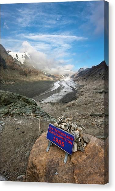 Pasterze Glacier Canvas Print - Retreat Of Glacier Pasterze Of Mount by Martin Zwick