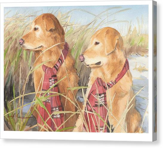 Retrievers In Dunes Watercolor Portrait Canvas Print by Mike Theuer