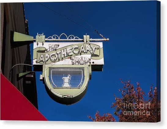 retro Apothecary shop sign Canvas Print