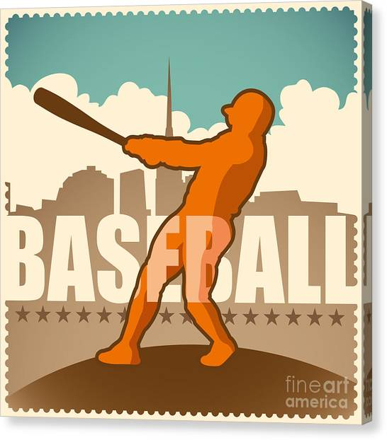 Bats Canvas Print - Retro Baseball Poster. Vector by Radoman Durkovic