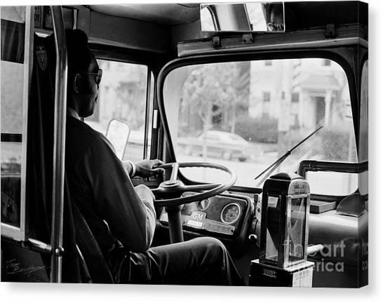 Retro Bus Driver Canvas Print