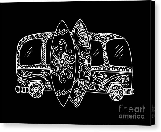 Old Truck Canvas Print - Retro Bus With Surf Boards In Zentangle by Handini atmodiwiryo