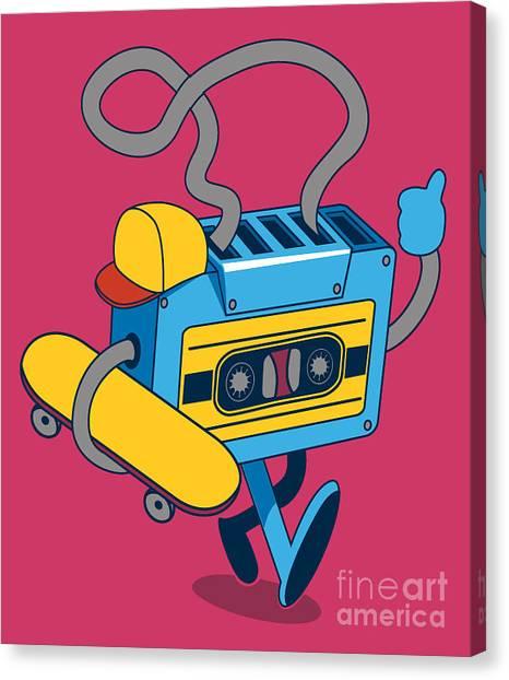 Monsters Canvas Print - Retro Cassette, Skater Character Design by Braingraph