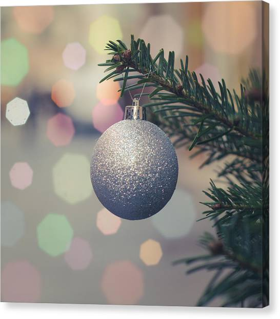 Fir Trees Canvas Print - Retro Christmas Tree Decoration by Mr Doomits