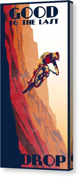 Canvas Print featuring the painting Retro Cycling Fine Art Poster Good To The Last Drop by Sassan Filsoof