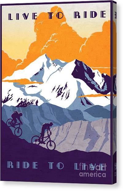 Canvas Print featuring the painting retro cycling poster Live to Ride Ride to Live  by Sassan Filsoof