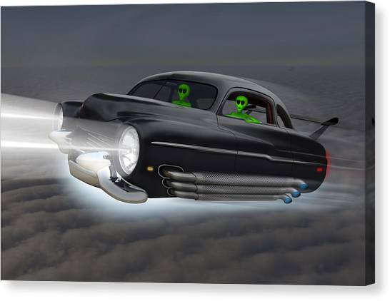 Ufos Canvas Print - Retro Flying Objects 2 by Mike McGlothlen