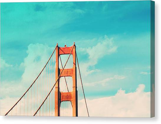 Sky Canvas Print - Retro Golden Gate - San Francisco by Melanie Alexandra Price