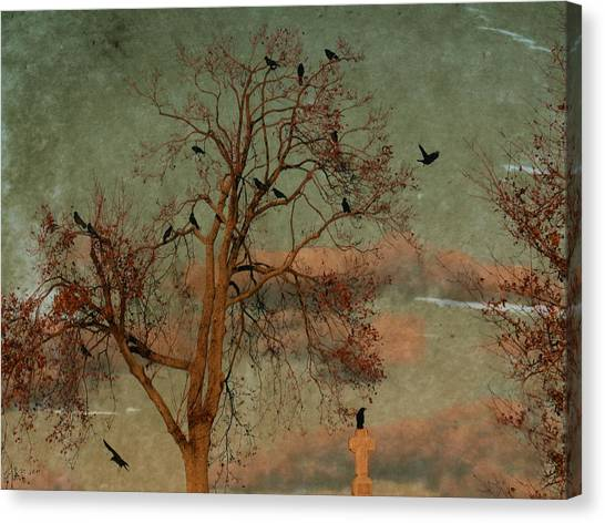 Ravens In Graveyard Canvas Print - Retro Gothic Sky by Gothicrow Images
