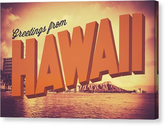 Hawaii Canvas Print - Retro Greetings From Hawaii Postcard by Mr Doomits