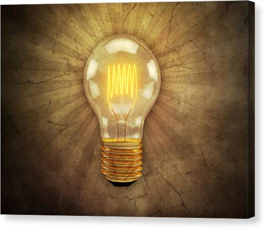 Computers Canvas Print - Retro Light Bulb by Scott Norris