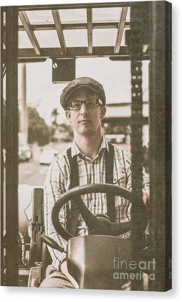 Forklifts Canvas Print - Retro Man Operating Heavy Lift Machinery by Jorgo Photography - Wall Art Gallery