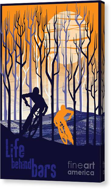 Cycling Canvas Print - Retro Mountain Bike Poster Life Behind Bars by Sassan Filsoof