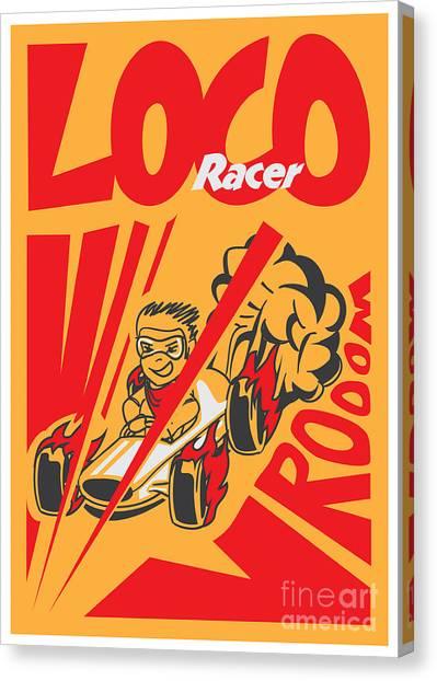 Sports Clothing Canvas Print - Retro Poster Cartoon Vintage Race Car by Pedro Alexandre Teixeira
