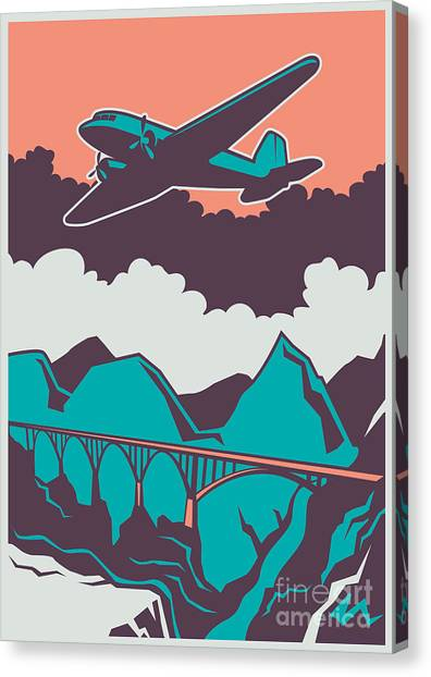 Flight Canvas Print - Retro Poster With Airplane. Vector by Radoman Durkovic