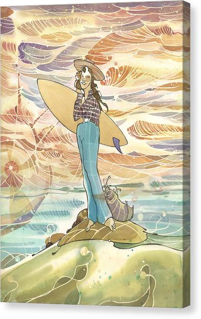 Retro Surfer Canvas Print