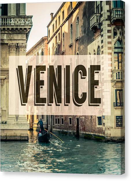 Boat Canvas Print - Retro Venice Grand Canal Poster by Mr Doomits