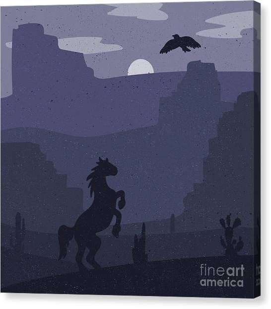 Prairie Canvas Print - Retro Wild West Galloping Horse In by Barsrsind