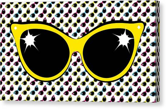Retro Yellow Cat Sunglasses Canvas Print