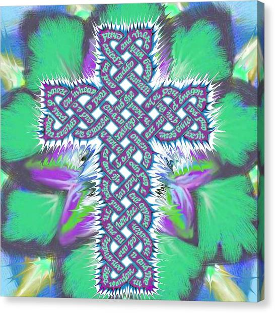 Canvas Print featuring the painting Rev 12 Cross Flower by Hidden  Mountain