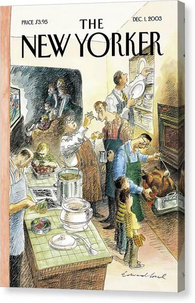 Turkey Dinner Canvas Print - Reverse Play by Edward Sorel