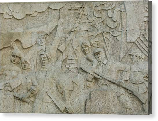 Bund Canvas Print - Revolutionary Frieze In Huangpu Park by Panoramic Images