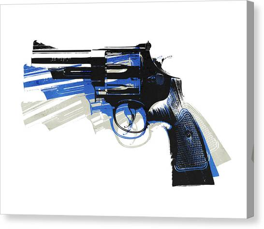 Pistols Canvas Print - Revolver On White - Left Facing by Michael Tompsett
