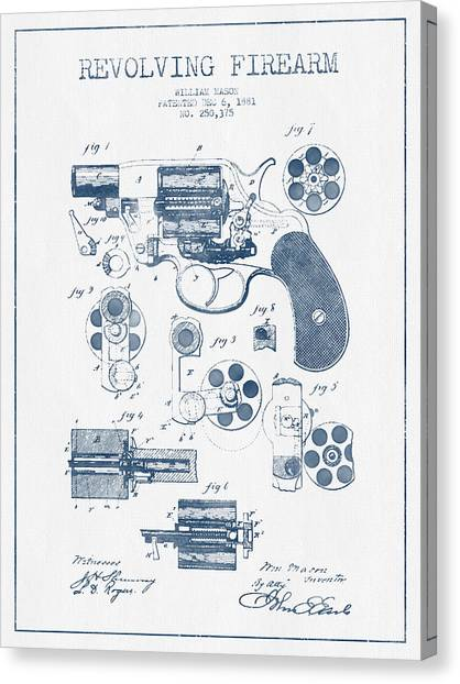 Weapons Canvas Print - Revolving Firearm Patent Drawing From 1881 -  Blue Ink by Aged Pixel