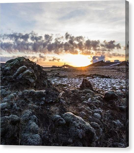 Lava Canvas Print - #reykjanes #sunset #clouds #lava #moss by Anna Sig